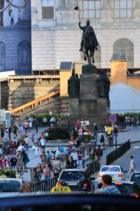 Wenceslas Square, dominated by the grand neoclassical Czech National Museum and the Statue of St. Wenceslas