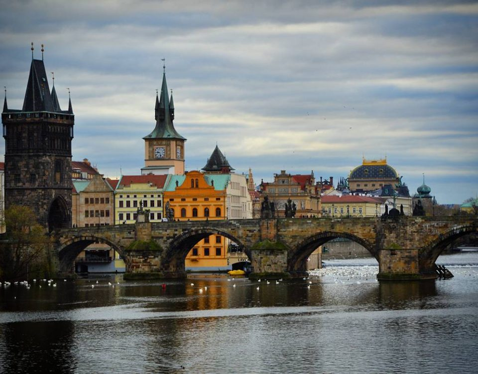 This photo is taken from Manesuv Bridge, the closest bridge to Charles Bridge, destination North...
